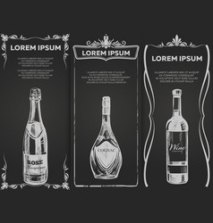 hand drawn alcohol drinks banners template vector image vector image