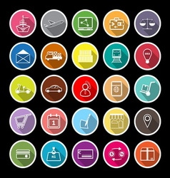 International business line flat icons with long vector image