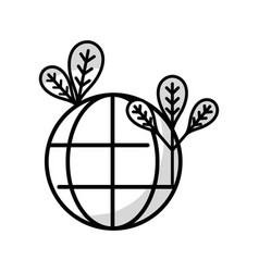 Line global earth planet with leaves and vector
