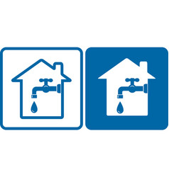 set with house and tap vector image vector image