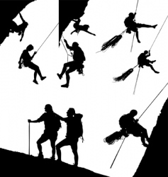 climbing silhouettes vector image vector image