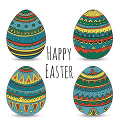 Colorful happy easter eggs set collection vector