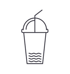 juice cup line icon sign on vector image