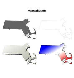 Massachusetts outline map set vector