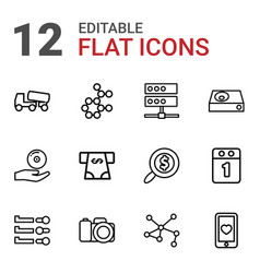 12 technology icons vector image