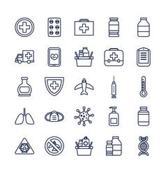 airplane and coronavirus icon set line style vector image