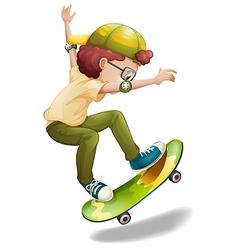 An energetic boy skating vector