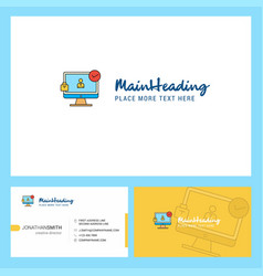 avatar on monitor logo design with tagline front vector image