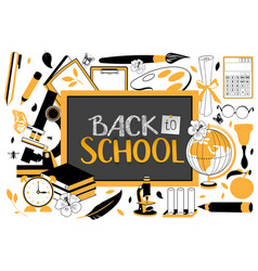 back to school text on blackboard accessories for vector image