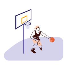 Basketball player man with ball and backboard vector