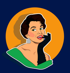 Beaming woman - retro clip art vector