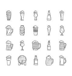 Beer mug charcoal draw line icons set vector