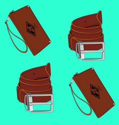 Belt and purse vector