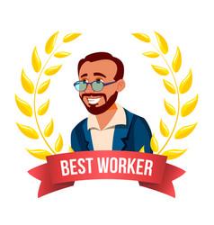 Best worker employee turkish man award of vector