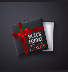 black friday sale glitter sparkleopen black gift vector image