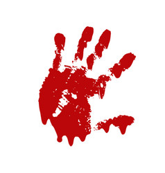 bloody hand print isolated white background vector image