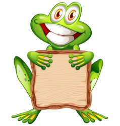 board template with cute frog on white background vector image