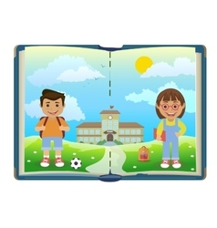 Book with school and two children vector