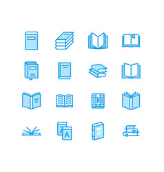 Books flat line icons reading library vector