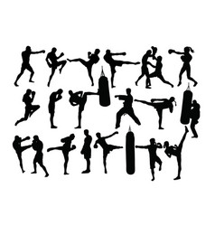 boxing camp activity silhouettes vector image