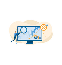 Business people analytics and monitoring investmen vector