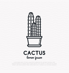 cactus in pot thin line icon vector image