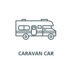 caravan car line icon caravan car outline vector image