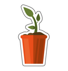 Cartoon bucket plant garden image vector