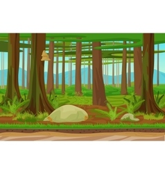 Cartoon classic forest woods landscape with trees vector image