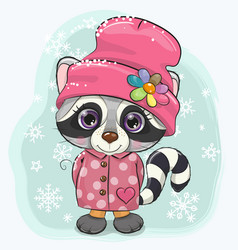 Cartoon raccoon on a snow background vector