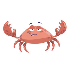 cartoon sea crab lovely crab vector image