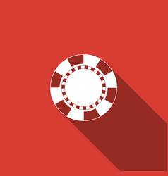 casino chip icon isolated with long shadow vector image