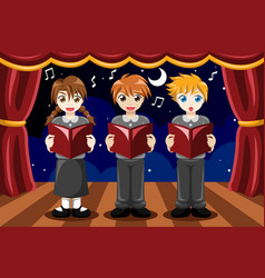 Children singing in a choir vector