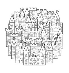 Circle shape coloring page with cute castles vector