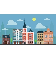 City town cityshape Luxury old fashioned houses vector