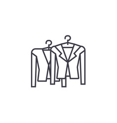 clothing on racks line icon sign vector image