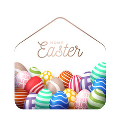 Colorful happy home easter 2020 card with funny vector