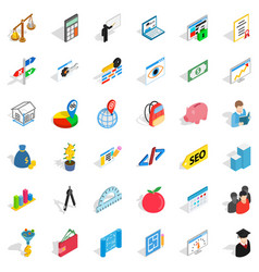 Counter icons set isometric style vector