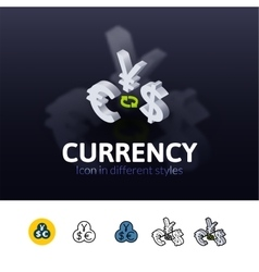 Currency icon in different style vector image