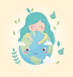 Cute girl huggings world leaves environment vector