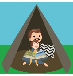 dad father and son kids reading book story in tent vector image vector image