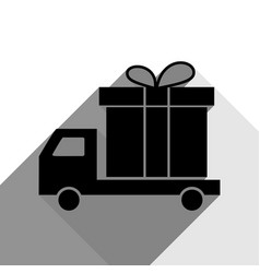 delivery gift sign black icon with two vector image