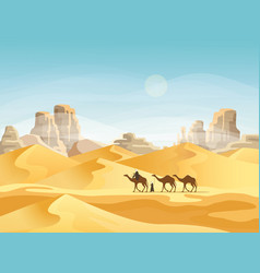 Desert with convoy or camel caravan vector