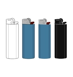 Disposable pocket gas lighters icons set vector