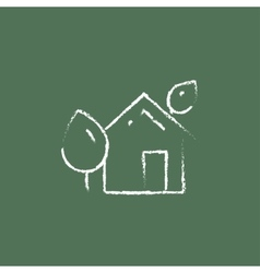 Eco-friendly house icon drawn in chalk vector image