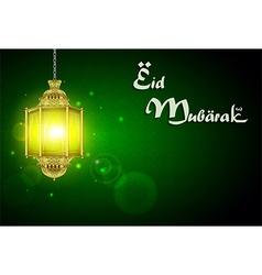 Eid mubarak with illuminated lamp vector