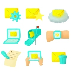 Email icons set cartoon style vector image