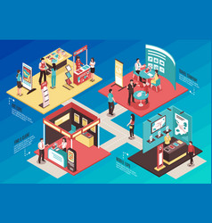 Exhibition showcase isometric concept vector
