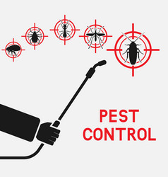 exterminator with sprayer against cockroaches vector image
