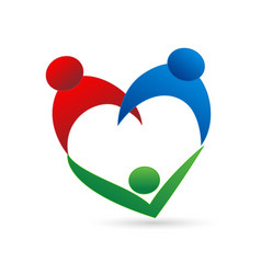 Family union in a heart shape logo vector